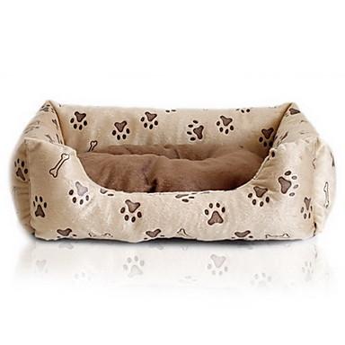 cama para perro con impresiones de huella