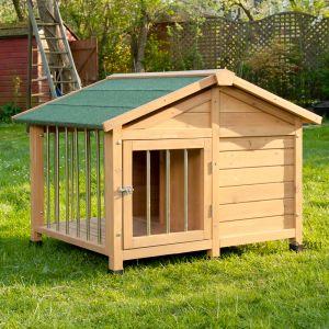 caseta para perro de madera