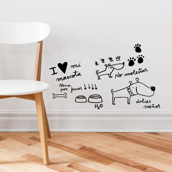 Vinilo de pared para marcar las zonas de tu perro divine - Vinilo para pared ...