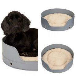cama para perro de piel