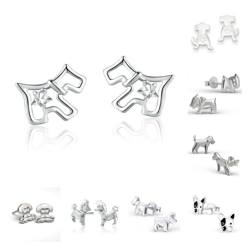 pendientes de plata de perro