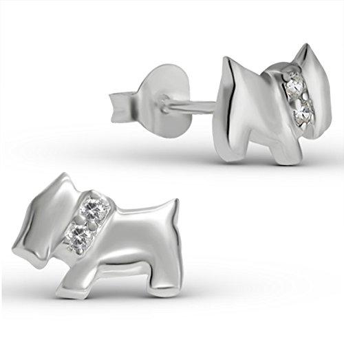 pendientes de plata de perros