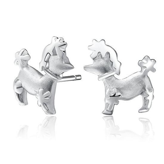 pendientes de perros de plata