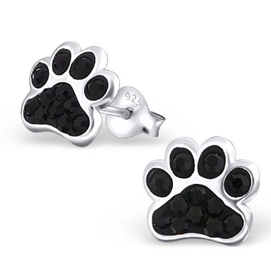 pendientes de plata de huellas de perro