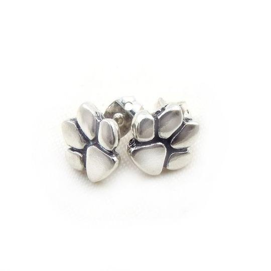 pendientes huella perro plata