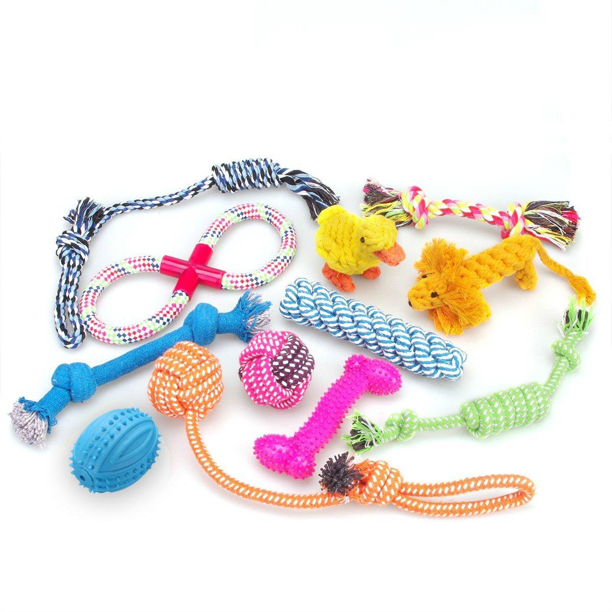 lote de juguetes para perros